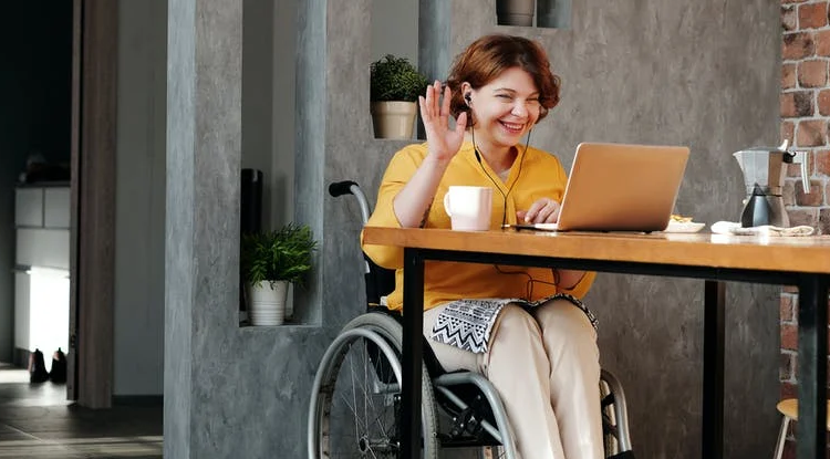 Lady in wheelchair smiling