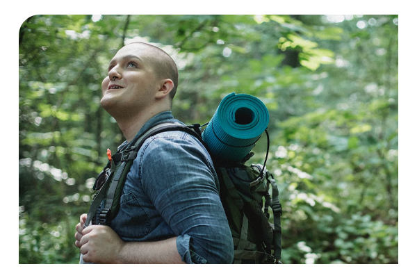 Man walking in a forest