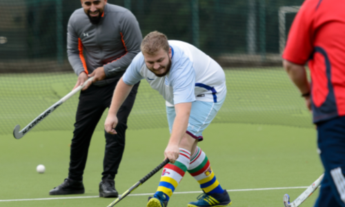 Man With Long Term Condition Playing Hockey