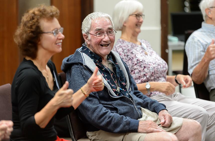 Older activity group having fun