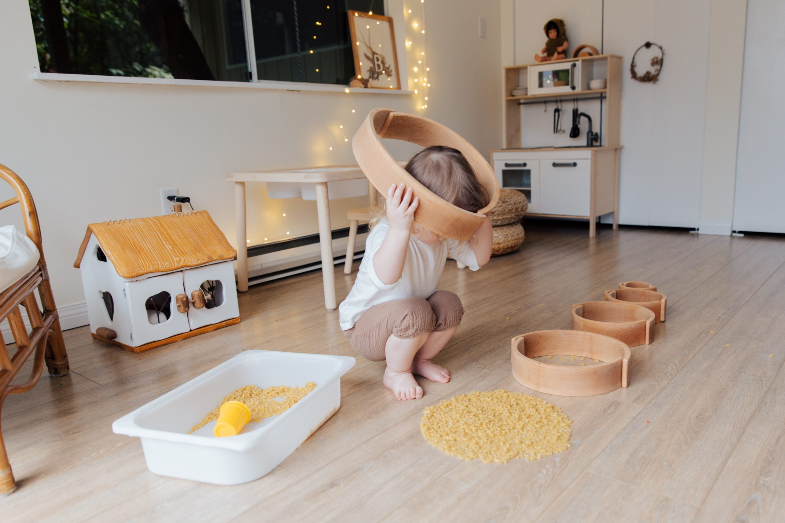 Toddler doing sensory play