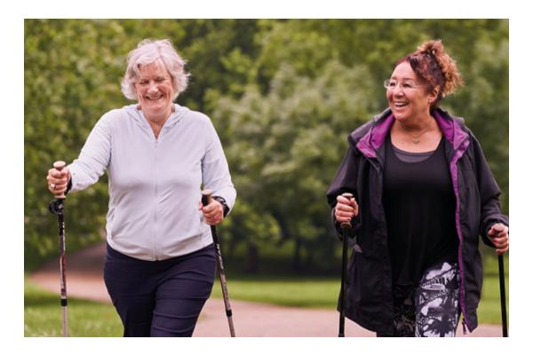 Two older women walking