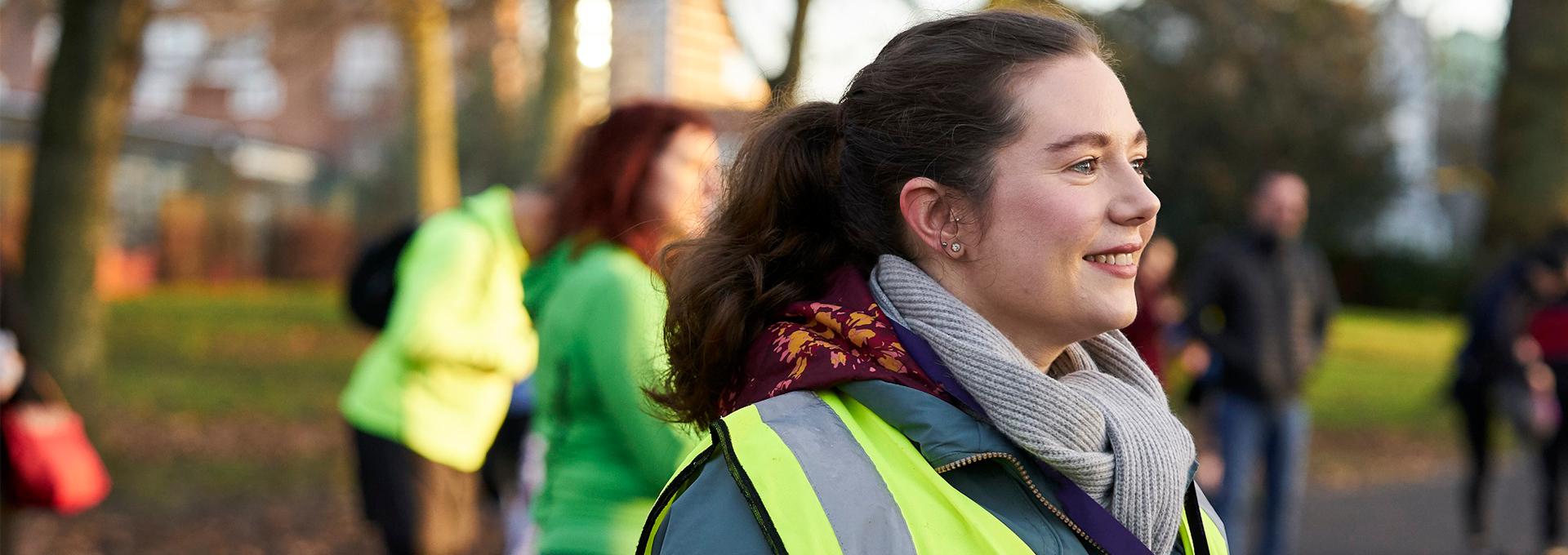woman volunteer at running group