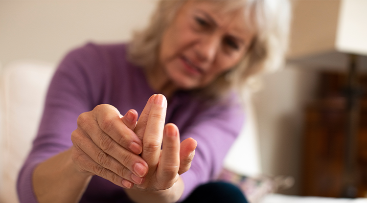 Woman with arthritic hands