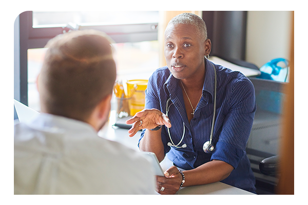 Doctor using the resource hub to talk to patient