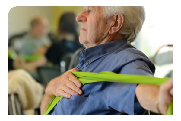 Older man exercising gently
