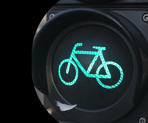 Green traffic light bike