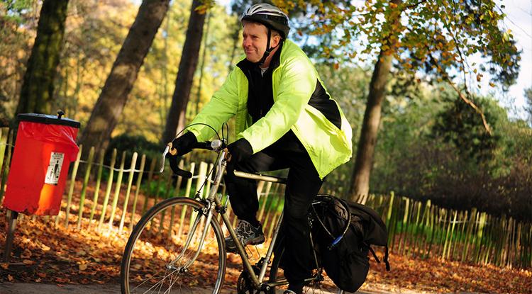 male cyclist on path