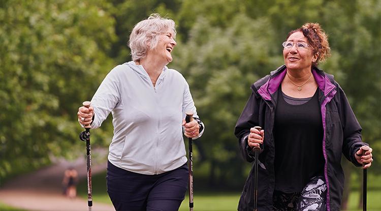 two older ladies nordic walking