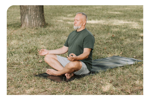 Man doing yoga for healthy lungs